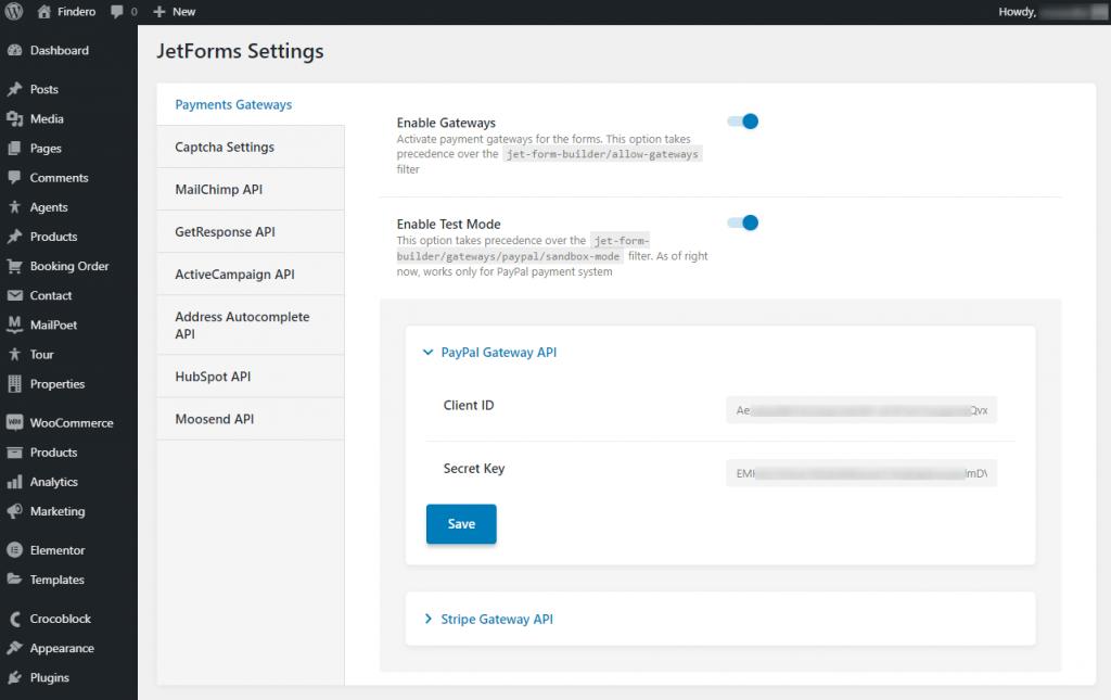 paypal gateway api keys insertion in jetforms settings