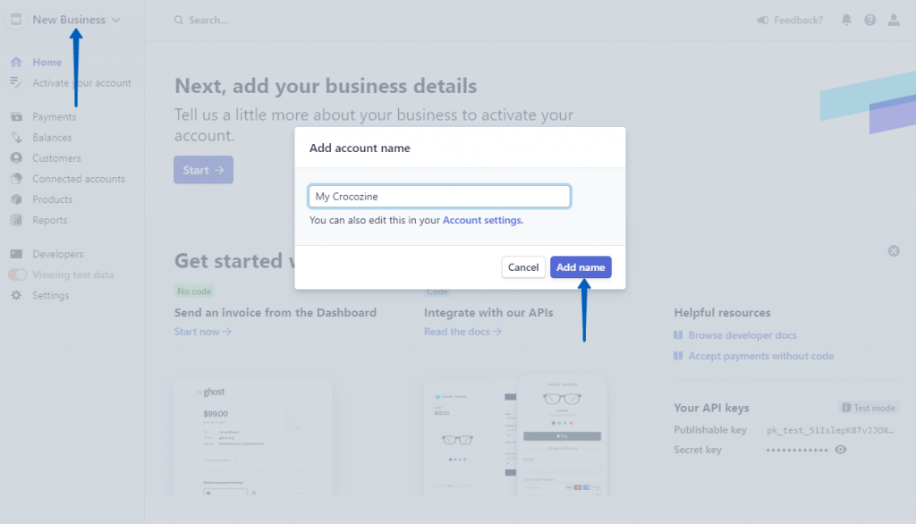 creating a new business on stripe website