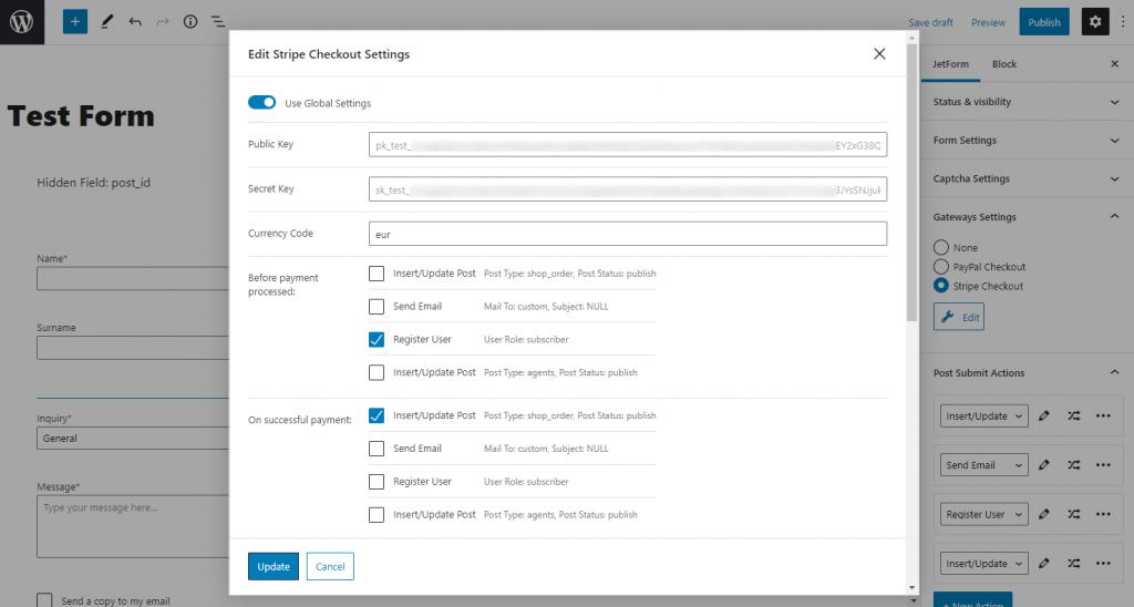 stripe checkout settings editing window