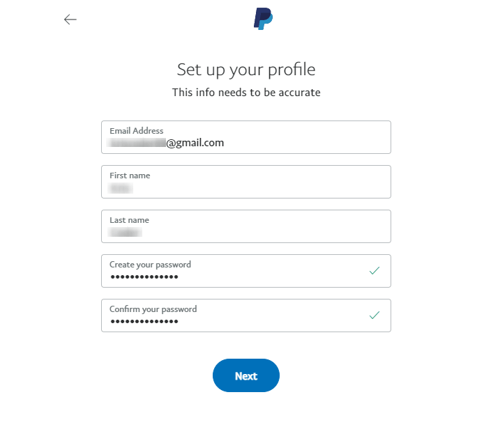 paypal account creation form