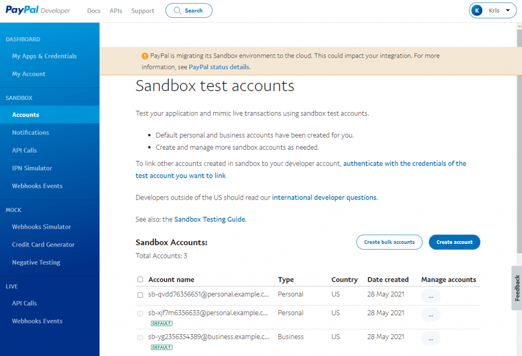 sandbox and live toggle switcher on paypal developer page