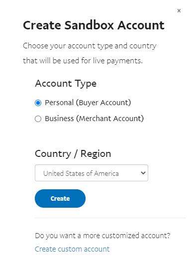 sandbox account creation pop-up window