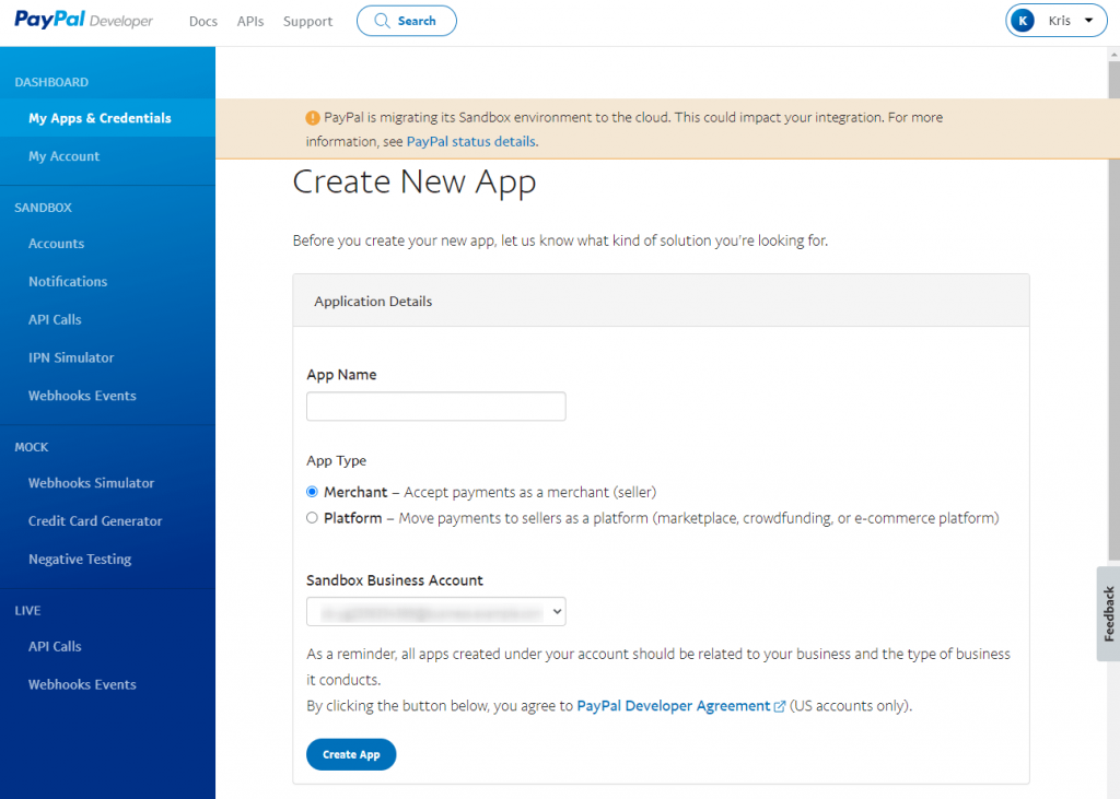 new app creation page