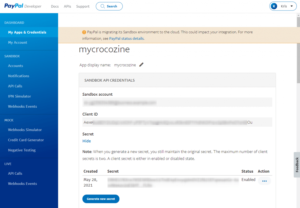 paypal client ID and secret key