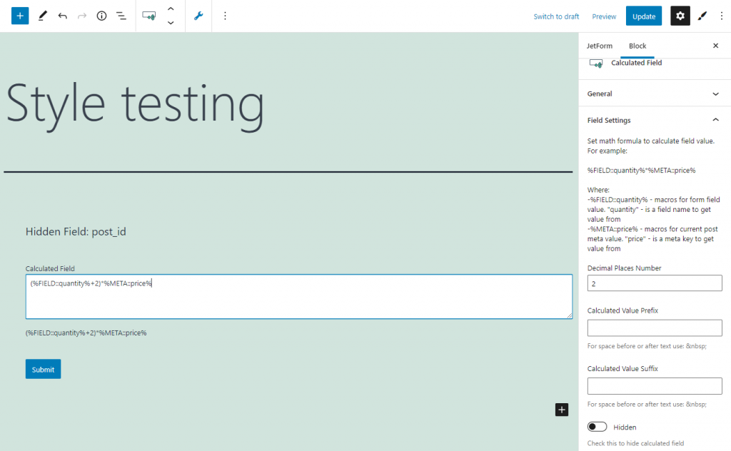 calculated form field results customizing