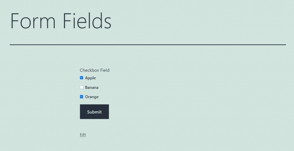 checkbox form field overview
