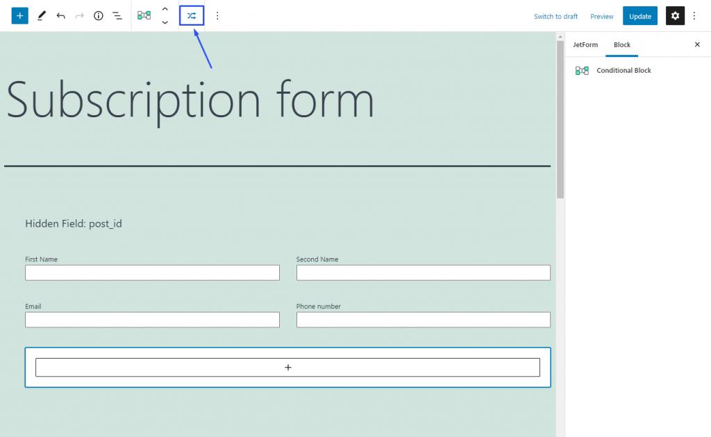 applying conditional block options