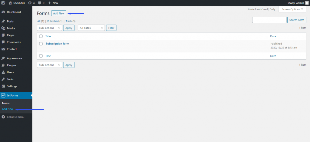 adding JetForm in WP dashboard