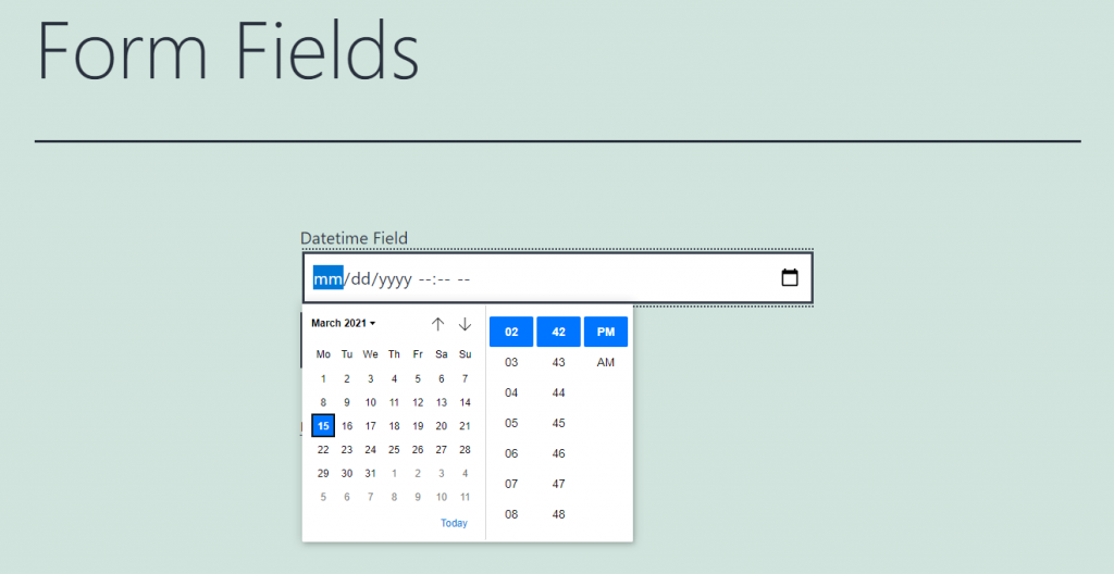 datetime form field appearance