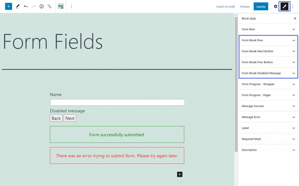 form break field styling messages