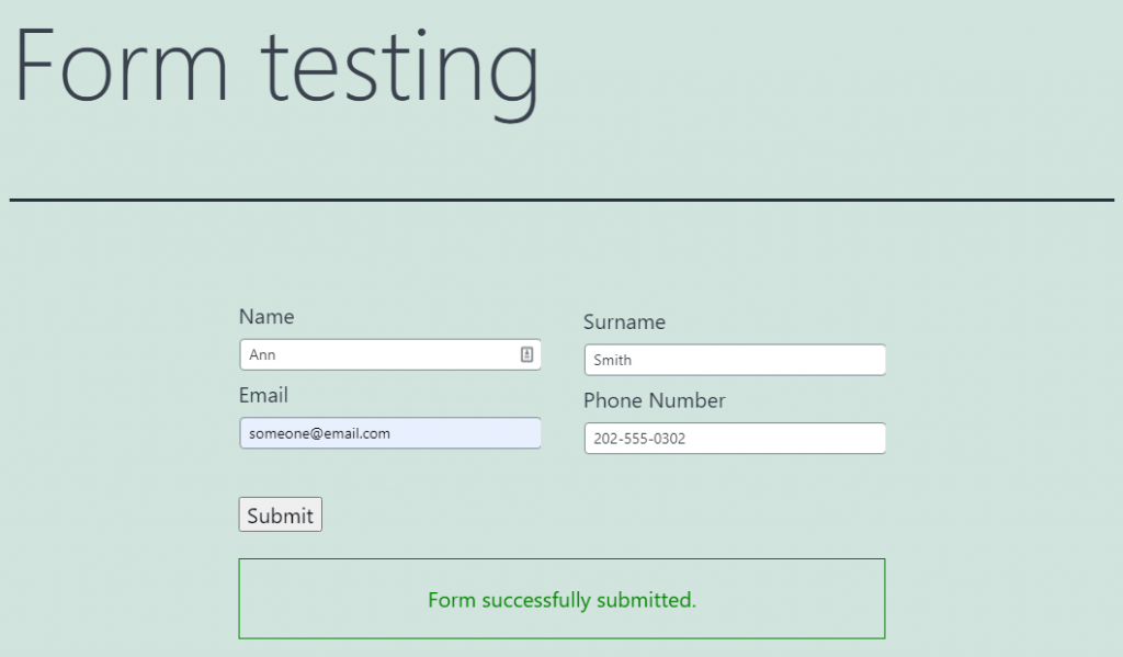 form successfully submitted notification