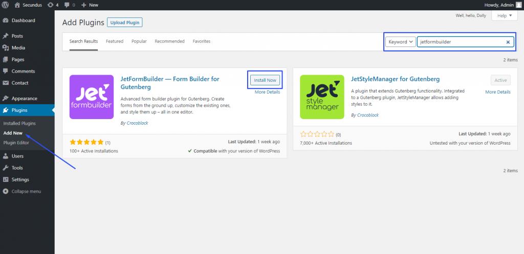 installing JetFormBuilder from the plugins dashboard