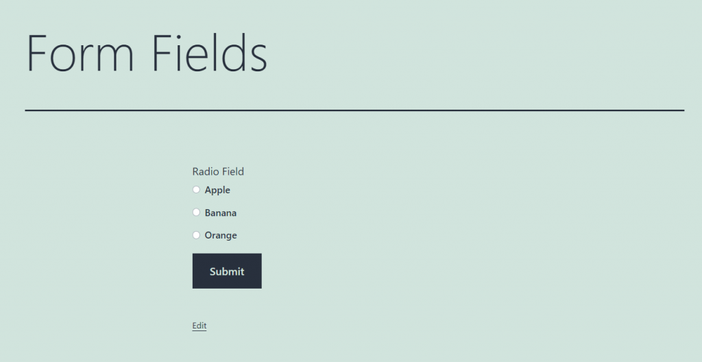 radio form field overview