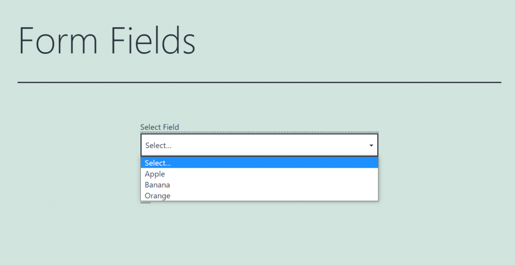displaying select form field