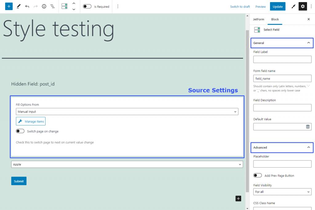 exploring select form field settings