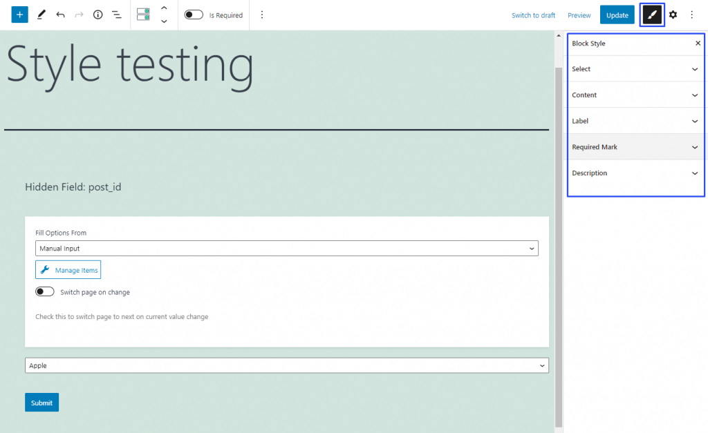 configuring select form field