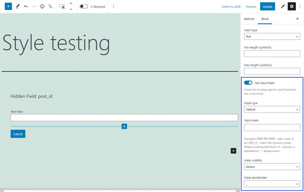 text form field input mask settings