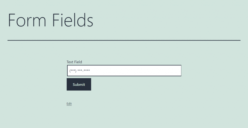 text form field for numerical data frontend view