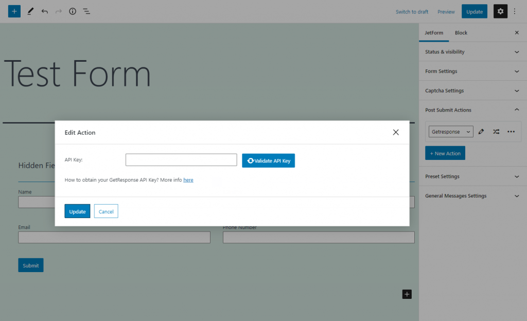 configuring getresponse through the api key