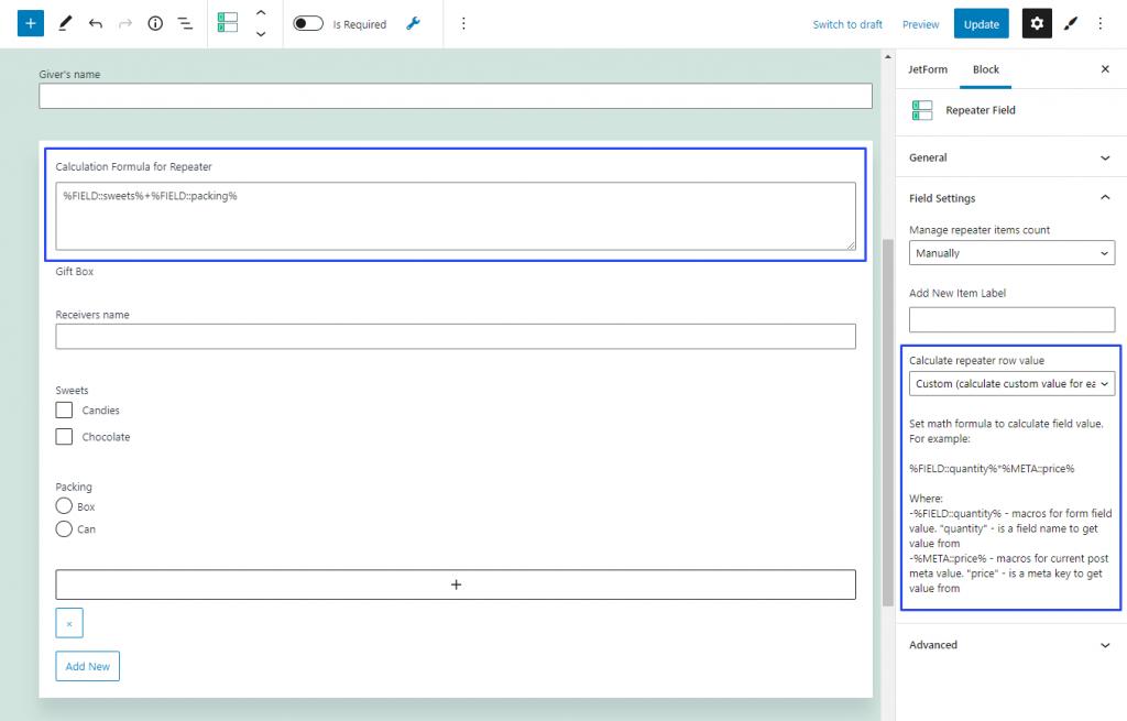 configuring custom calculated value