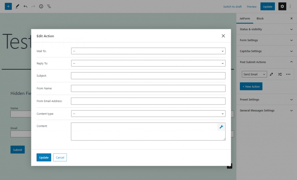 send email action editing menu