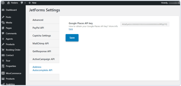 address autocomplete api tab in jetforms settings