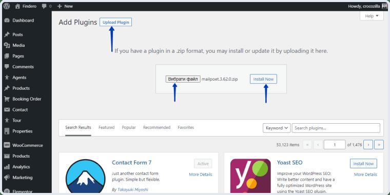 uploading the mailpoet plugin to WP