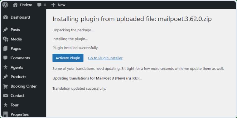 activating the mailpoet plugin