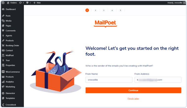 mailpoet welcome screen