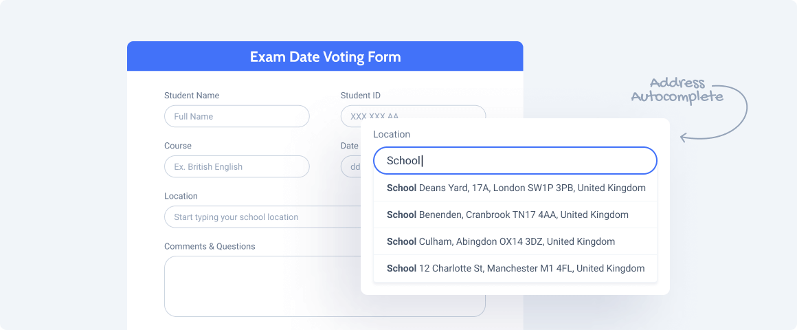 voting form with adress autocomplete field
