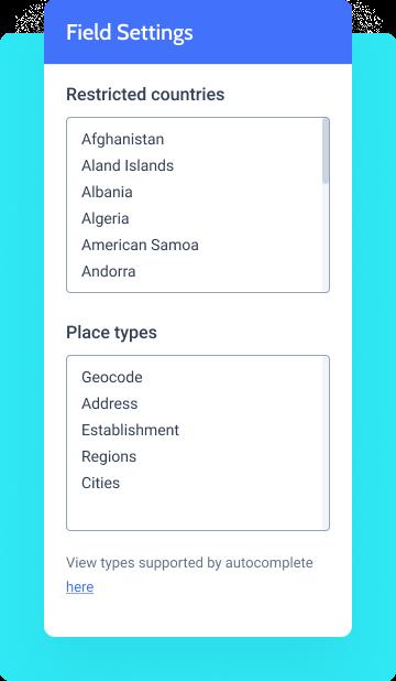 address autocomplete field settings