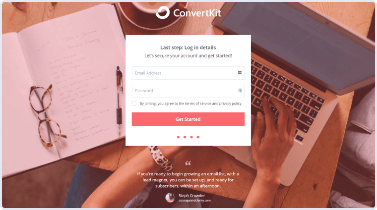 convertkit get started page