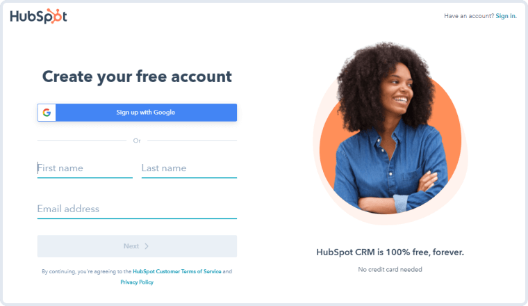 account creation form on hubspot