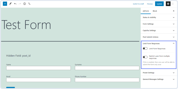 limit form responses section in the jetform tab