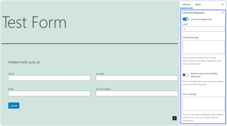 enabled limit form responses toggle
