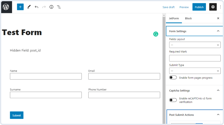mailerlite option in post submit actions