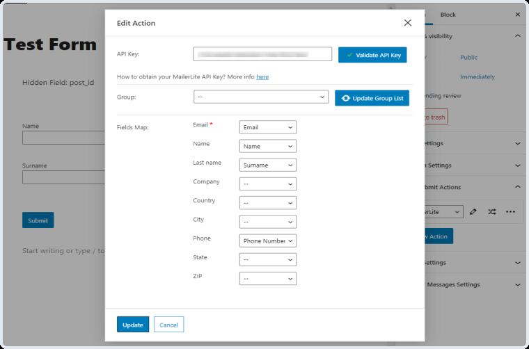 mailerlite action settings