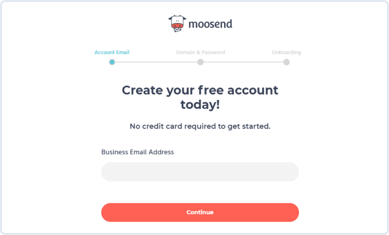 moosend's account creation form