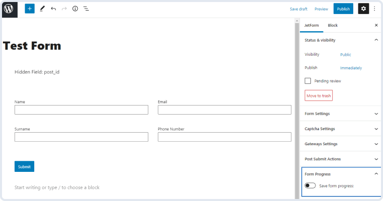 toggle enabling the save form progress functionality