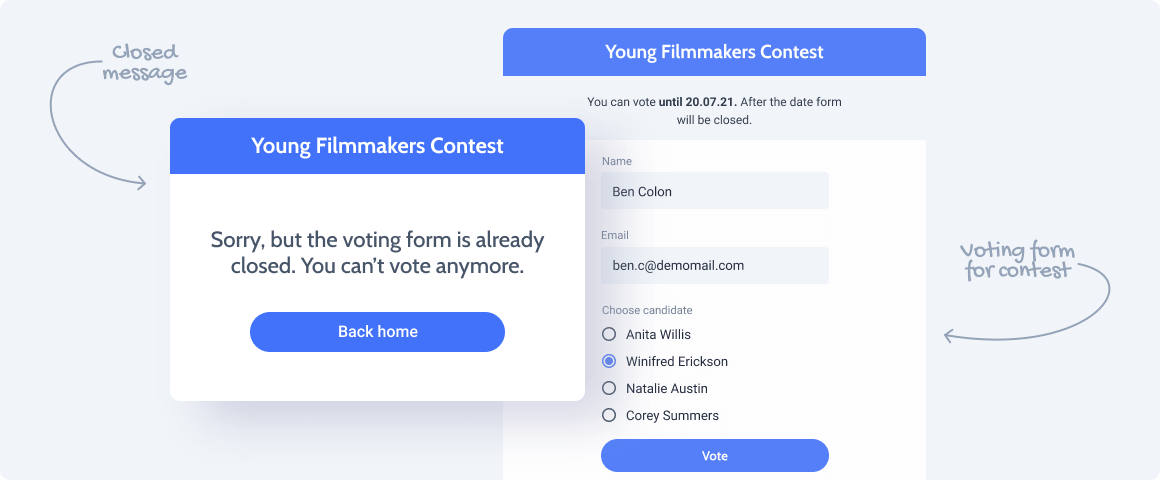 voting form with closed message