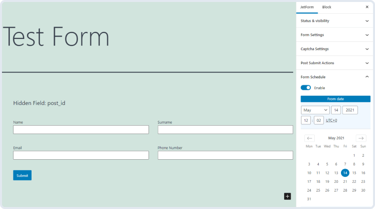 form schedule addon's settings