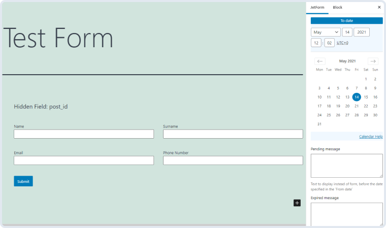 form schedule settings in the jetform tab