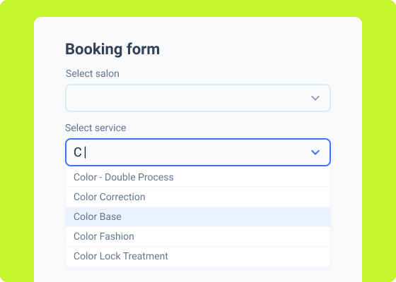 booking form with the select autocomplete field
