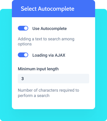 select autocomplete form  field settings