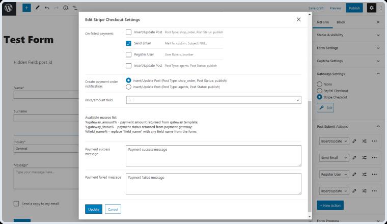 edit stripe checkout settings window