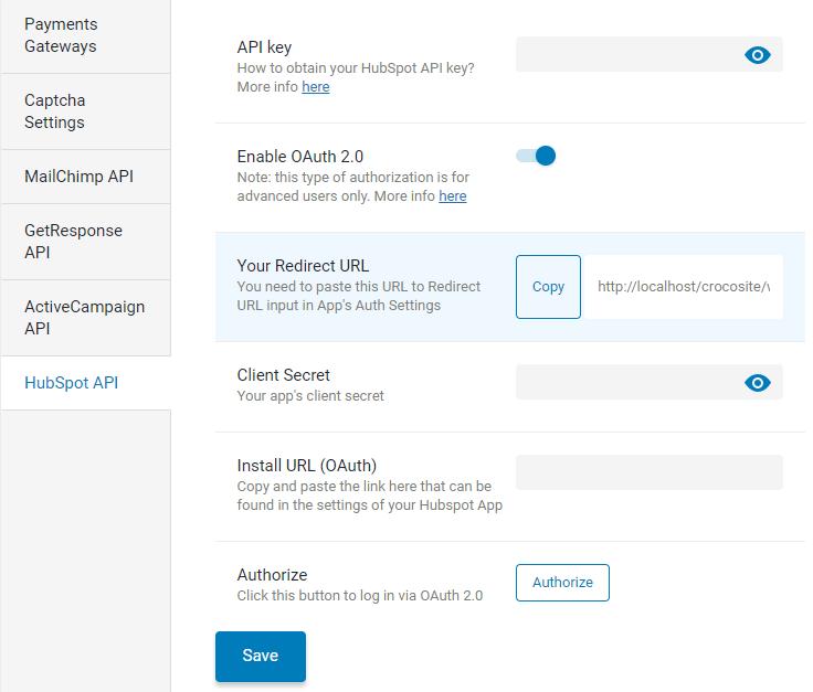 jetformbuilder hubspot addon admin settings