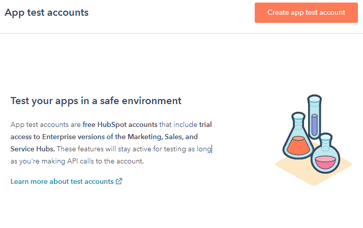 hubspot test account page creation