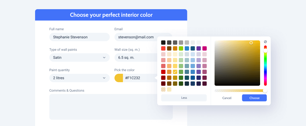 advanced color picker field in the form