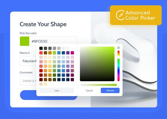 advanced color picker field in a form