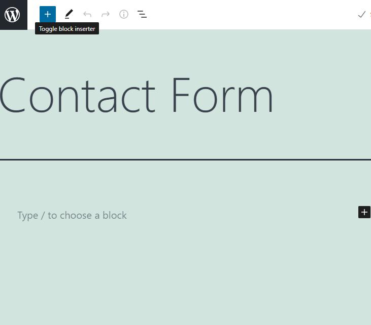 wordpress contact form toggle block icon